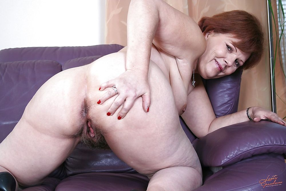 Fat granny fucked by a young stud on the sofa 4