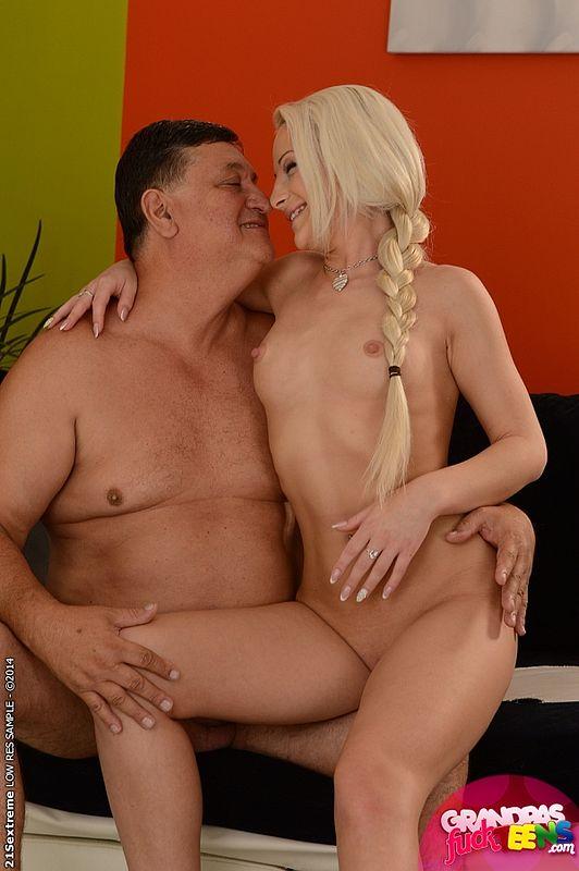Sexy blonde girl Anastasia seducing a horny grandpa ...